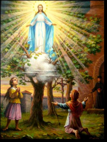 Obraz przedstawiający objawienia Matki Bożej w Gietrzwałdzie